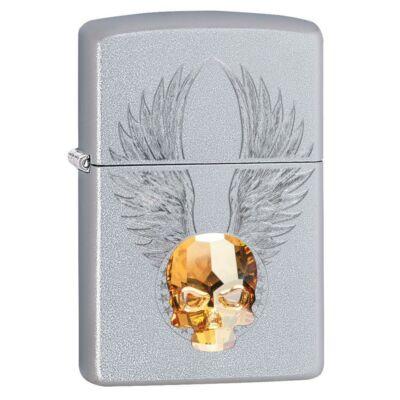 49034 Zippo öngyújtó -Szatén króm, 3D Swarovski kristály koponya