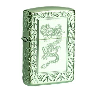 49054 Zippo öngyújtó Magasfényű zöld, Art Deco és sárkány mintáva