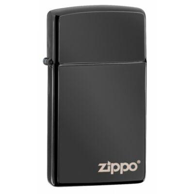 28123zl Zippo Slim-vékony öngyújtó Ébenfekete színben, gravírozható