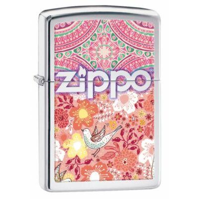 28851 Zippo öngyújtó, polírozott ezüst színben logóval- Virágminta
