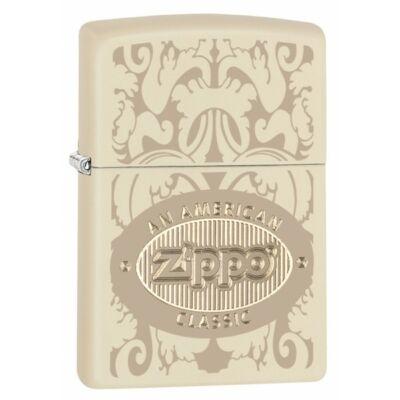 """28854 Zippo öngyújtó, matt krém színben- """"Amerikai Klasszikus Zippo"""" logóval"""