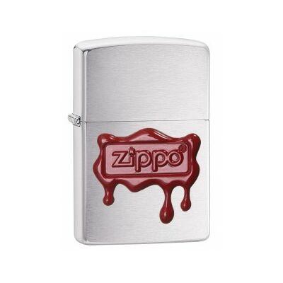 29492 Zippo Öngyújtó, szálhúzott ezüst színben, lecsorgó viaszpecséten zippo felirat