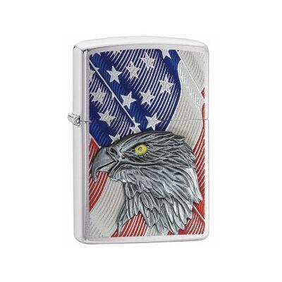 29508 Zippo öngyújtó, Fényes ezüst színben - Amerikai zászló sas rátéttel