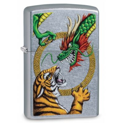 29837 zippo öngyújtó, utcai csiszoltalapon, tigris és sárkány