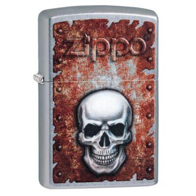 29870 Zippo öngyújtó, utcai csiszolt kivitelben - Zippo logóval és koponyával