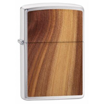 29900 Zippo öngyújtó, ezüst színű alapon, lézer vágott fa rátét -WOODCHUCK