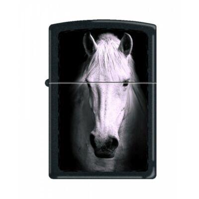 M218-009831 Zippo öngyújtó, matt fekete színben, fehér ló