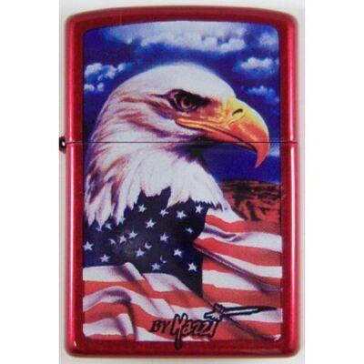 24082 Zippo öngyújtó, fényes piros színben - Amerikai hazaszeretet