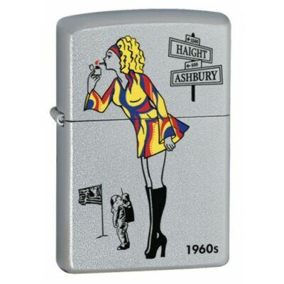 24388 Zippo öngyújtó, finoman csiszolt ezüst színben - Windy Girl 1960s