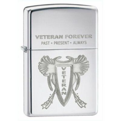 28054 Zippo öngyújtó, fényes ezüst színben - Örökké Veterán
