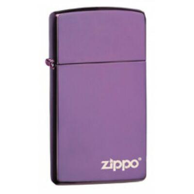 28124ZL Zippo öngyújtó, fényes lila színben logóval, vékony kivitel