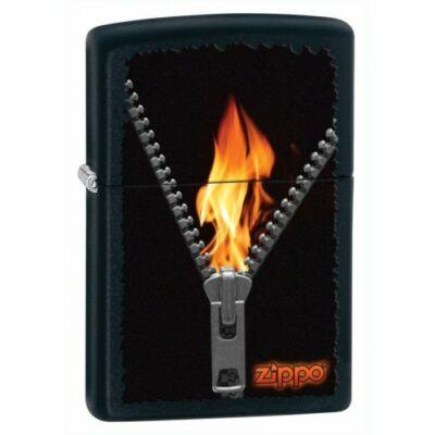 28309 Zippo benzines öngyújtó, matt fekete színben logóval - Cipzár mintával