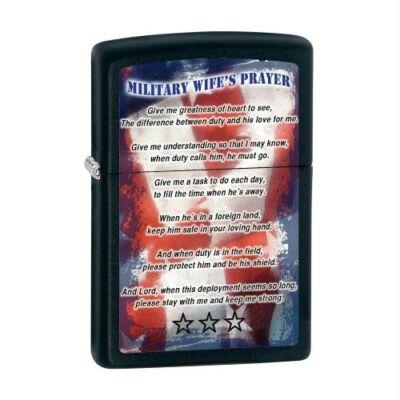 28315 Zippo benzines öngyújtó,  matt fekete színben, Katonafeleség imája felirat