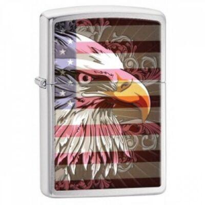 28652 Zippo öngyújtó, ezüst színben  - Amerikai rétisas zászlóval