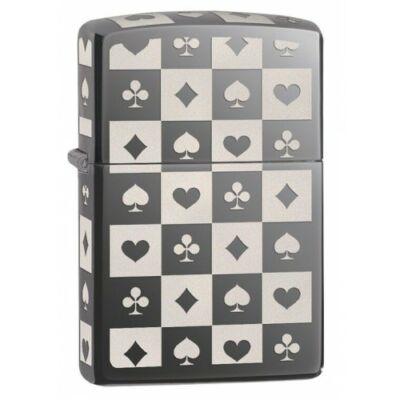 29082 Zippo öngyújtó, black ice színben, lézergravírozott kártya mintával