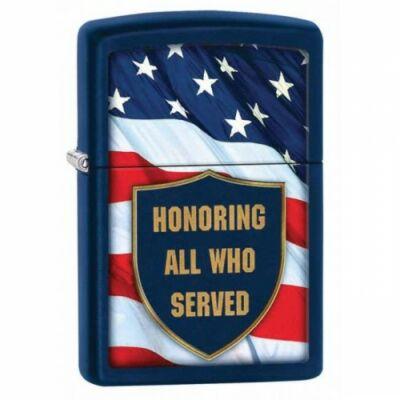 29092 Zippo öngyújtó, matt kék alapon - USA zászló felirattal