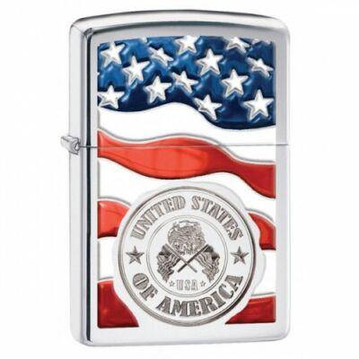 29395 Zippo öngyújtó, Fényes ezüst színben - Amerikai zászló