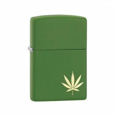 29588 Zippo öngyújtó, matt zöld színben - Kannabis levél