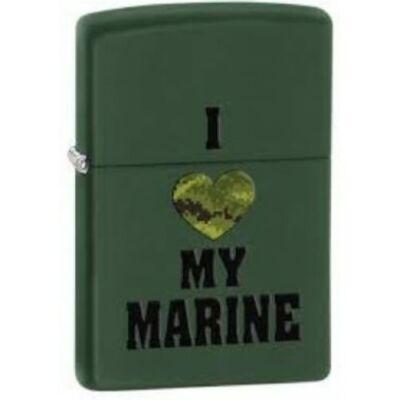 28338 Zippo öngyújtó, matt zöld színben - I Love Marine felirattal