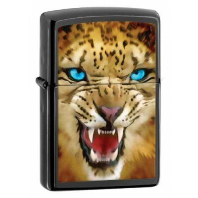28276 Zippo öngyújtó, matt ébenfekete szín, leopárd fotóval