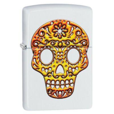 49003z Zippo öngyújtó matt fehér, koponyás mintával díszítve -Sugar Skull