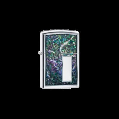 49139 Zippo öngyújtó polírozott króm, Virág mintával