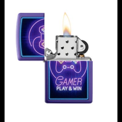 49157 Zippo öngyújtó matt lila színben -Gamer Play&Win