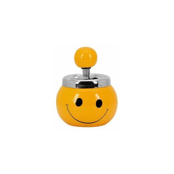 12765 Pörgős kerámia hamutartó - Smiley díszítéssel -13 cm