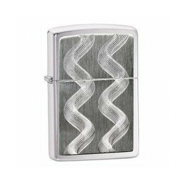 24871 Zippo öngyújtó, ezüst színű, hullámos díszítéssel