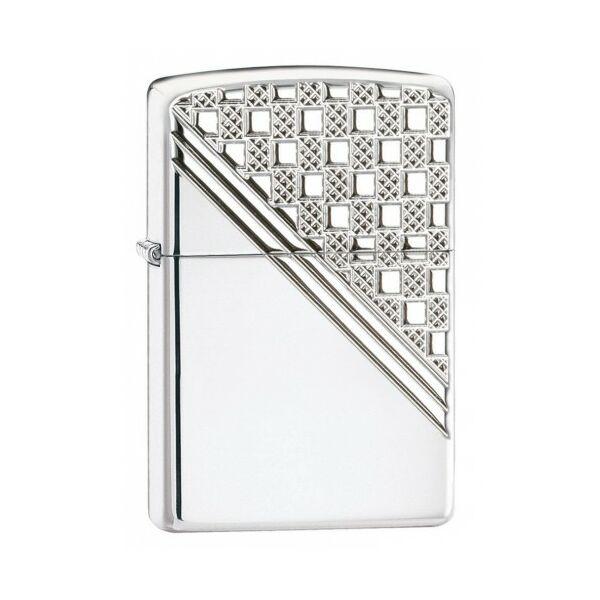 24952 Zippo Öngyújtó, fényes ezüst színben - Mintás díszítés