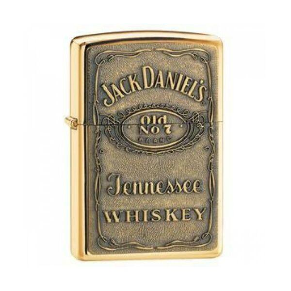254BJD428 Zippo öngyújtó, arany színben Jack Daniels emblémával
