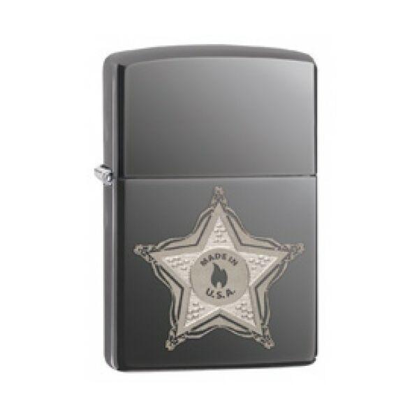 28360 Zippo öngyújtó, black ice színben - Serif jelvény