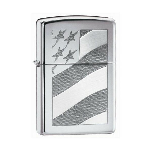 21068 Zippo öngyújtó, fényes ezüst színben - Amerikai zászló